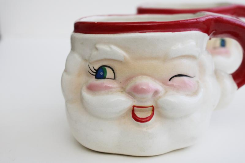 mid-century vintage Japan ceramic Santa face mugs, mini Holt Howard winking Santas