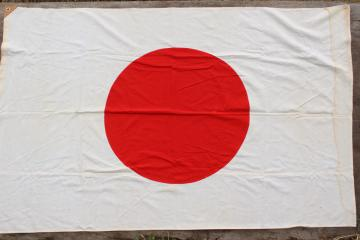 mid-century vintage Japanese flag, Japan flag sewn of all cotton fabric