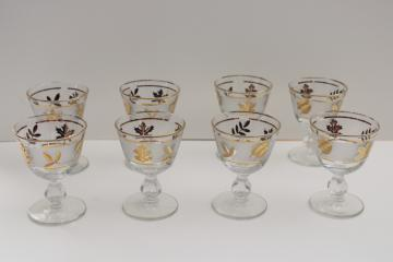 mid-century vintage Libbey gold foliage leaf print wine or cocktail glasses set
