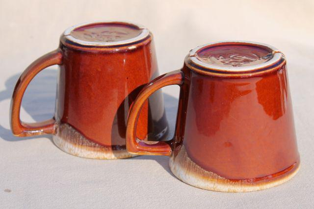 mid-century vintage McCoy pottery coffee cups, brown drip glaze mugs set of six