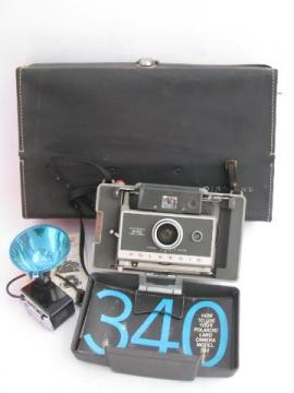 mid-century vintage Polaroid model 340 land camera with flash 268 & case