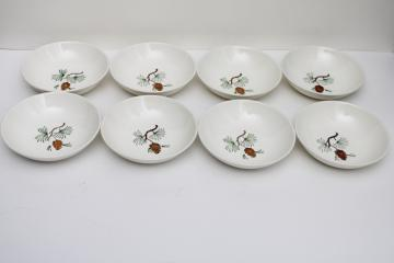 mid-century vintage Stetson pottery pine cone dessert dish bowls, rustic cabin holiday dinnerware