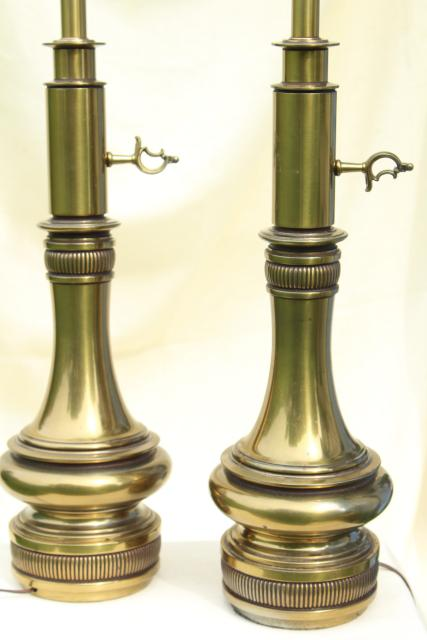 Mid Century Vintage Stiffel Lamps Heavy Antique Brass