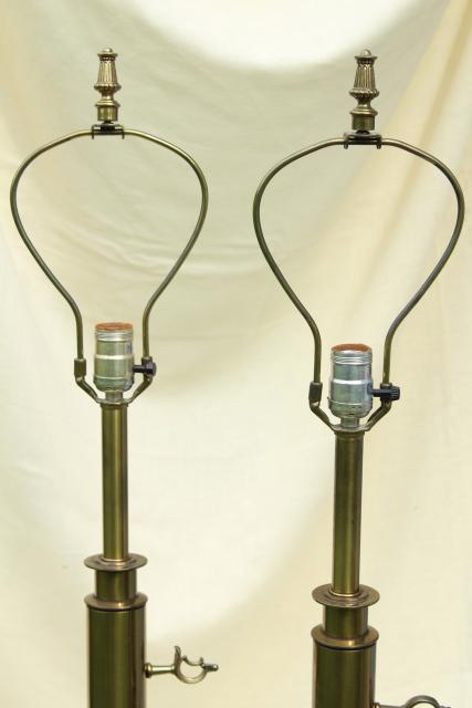 mid-century vintage Stiffel lamps, heavy antique brass plated table lamp pair