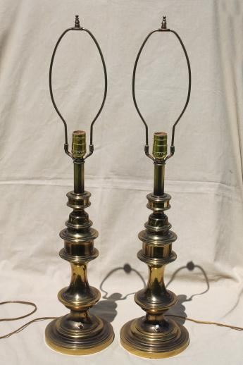 ;mid-century vintage Stiffel style table lamps w/ polished antique brass finish