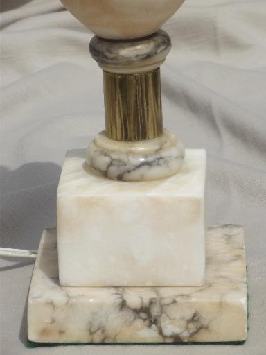 mid-century vintage alabaster lamp, Italian marble carved stone table lamp