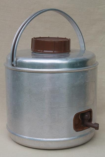 mid-century vintage aluminum thermos bottle picnic cooler jug for camping / fishing