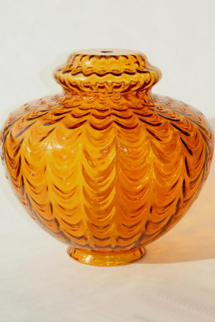 Mid Century Vintage Amber Glass Pendant Light Swag Lamp