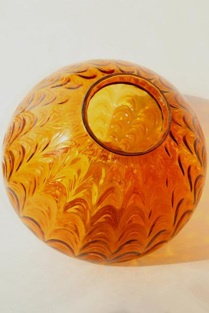 mid-century vintage amber glass pendant light / swag lamp shade or globe base, hand blown glass