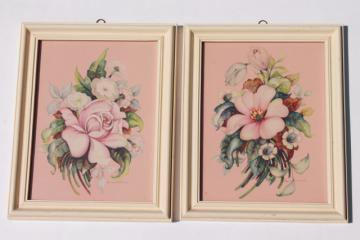 mid-century vintage boudoir prints, floral pair in painted wood frames, shabby cottage chic