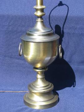 mid-century vintage brushed brass table lamp, huge urn w/ handles