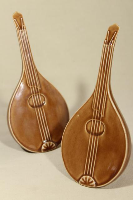 mid-century vintage ceramic art pottery vases, pair of mandolin musical instruments