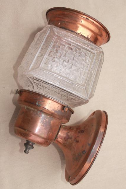 mid-century vintage copper lantern wall sconce light, exterior entry lighting