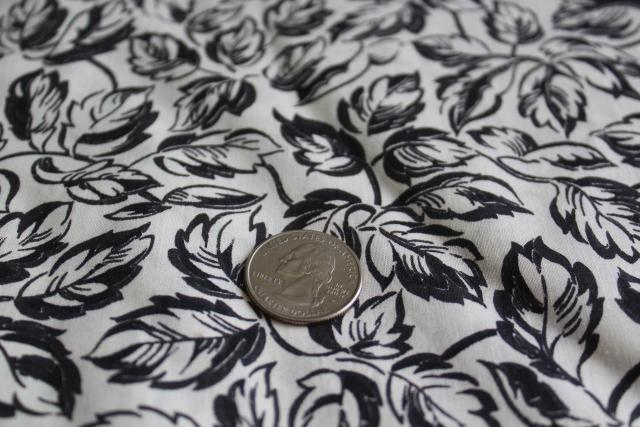 mid-century vintage cotton fabric black & white rose leaf print dress / shirt material