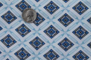 mid-century vintage cotton fabric with blue & grey tile print pattern