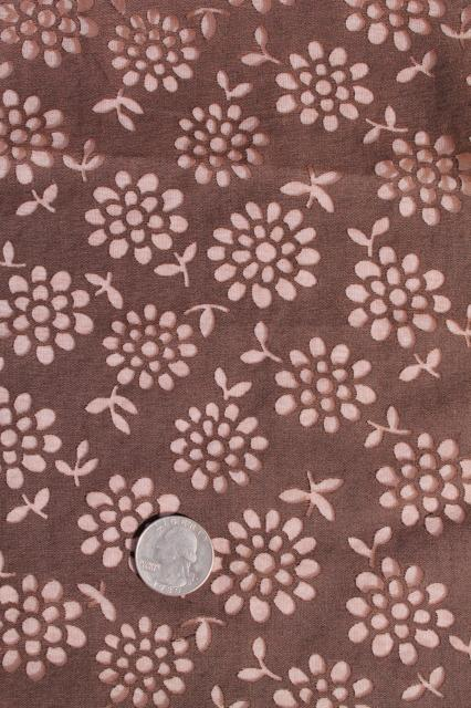 mid-century vintage dress material fabric, chocolate brown w/ sheer flowers, zinnias