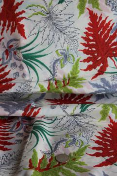 mid-century vintage fabric, bold ferns print silky rayon dress material
