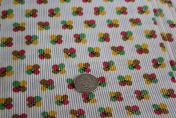 mid-century vintage fabric, cord weave light cotton w/ color wheel dots print