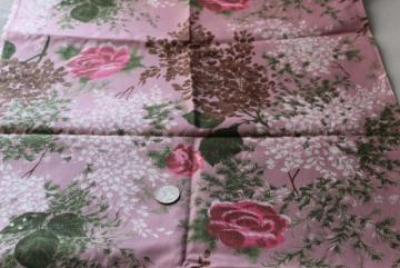 mid-century vintage fabric, lilacs & roses print regulated cotton material