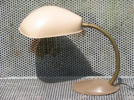 mid-century vintage gooseneck desk light, metal helmet lamp shade