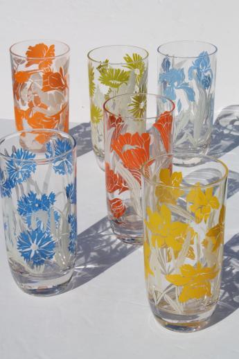 Mid Century Vintage Kitchen Glass Drinking Glasses Set