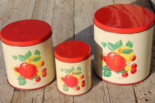 mid-century vintage metal kitchen canisters w/ bright fruit print, retro canister set