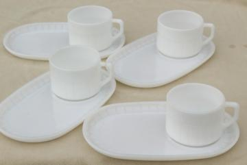 mid-century vintage milk glass soup & sandwich sets, oval tray plates & mug bowls