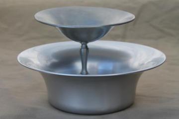 mid-century vintage pewter aluminum serving pieces, mod bowl & pedestal dish