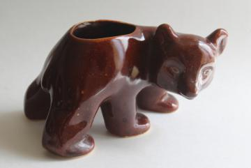 mid-century vintage pottery planter, little brown bear lodge cabin camper western style