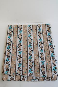 mid-century vintage quilting weight cotton fabric, floral stripe turquoise flowers
