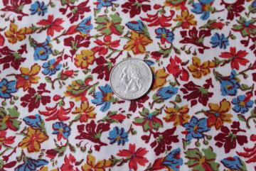 mid-century vintage rayon or blend fabric, leaves and flowers print