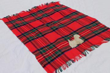 mid-century vintage red plaid wool stadium blanket w/ furry terrier dog mascot applique