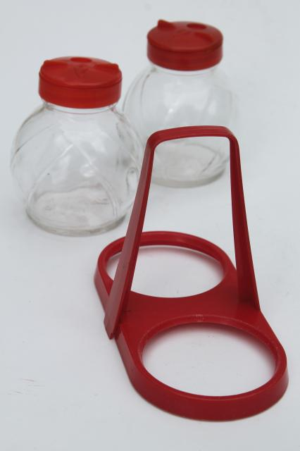 mid-century vintage red plastic rack & glass shakers, retro kitchen S&P set