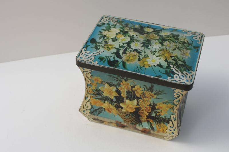 mid-century vintage sewing box, Edward Sharp England tin from chocolate candy or toffee