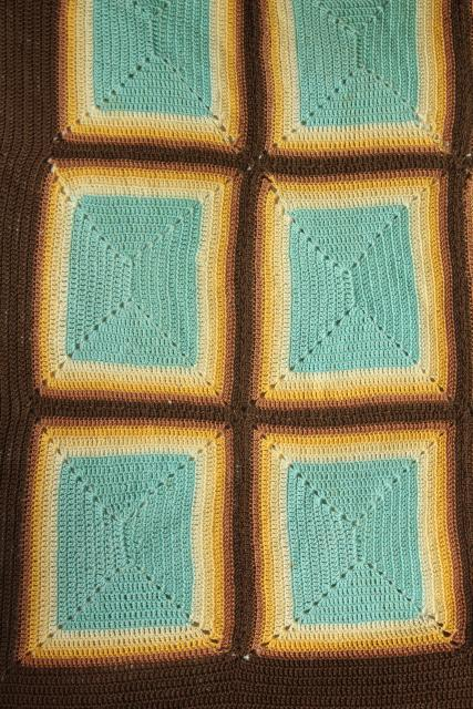 mid-century vintage southwest colors bedspread, handmade Indian blanket crochet cotton thread