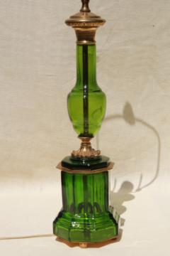 mid-century vintage table lamp, emerald green glass lamp w/ heavy brass hardware