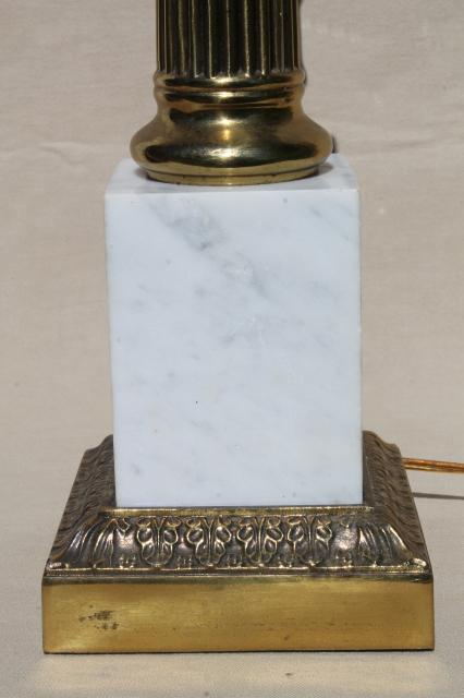Mid Century Vintage Table Lamp Huge Solid Brass Column W