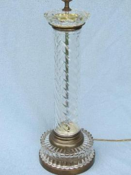 mid-century vintage tall crystal clear glass column table lamp