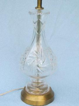 mid-century vintage tall crystal star pattern clear glass table lamp
