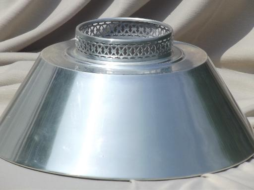 Mid century vintage tole lampshade silvery aluminum metal lamp shade aloadofball Images