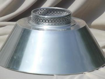 mid-century vintage tole lampshade, silvery aluminum metal lamp shade