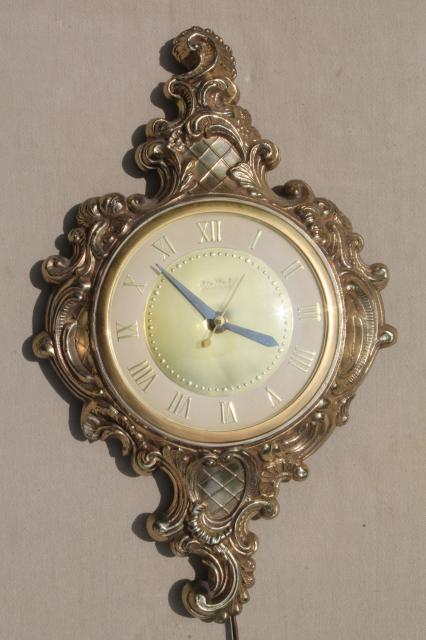 midcentury vintage wall clock united brooklyn antique french style gold cast metal frame