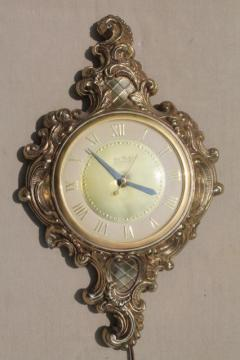 mid-century vintage wall clock, United - Brooklyn antique french style gold cast metal frame