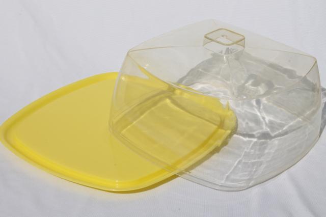 mid-century vintage yellow plastic cake keeper saver, cake plate w ...