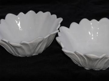 milk glass flower pattern bowls