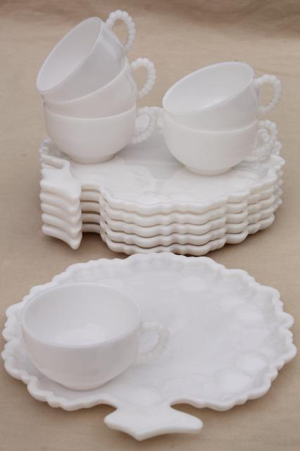 milk glass snack sets apple trees tree of life plates \u0026 cups vintage Orchard & vintage snack sets