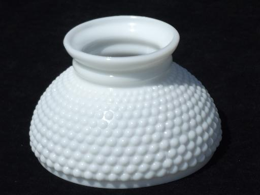 Milk White Hobnail Glass Shade For Student Lamp Vintage