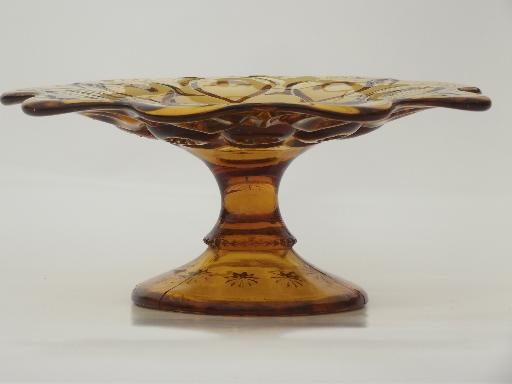 mini cake stand or candle pedestal, vintage moon & stars amber glass