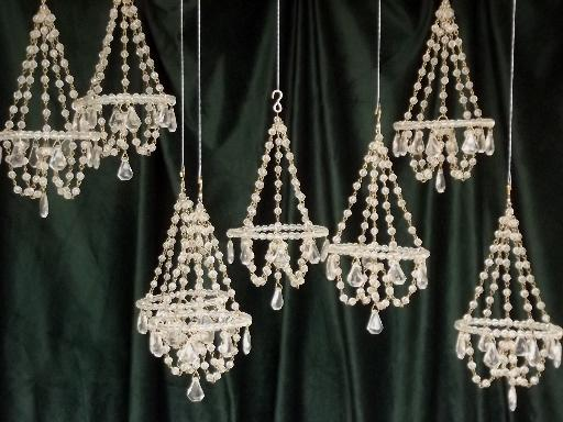 Unique mini crystal chandelier ornaments, glass bead chandeliers set to hang WB81
