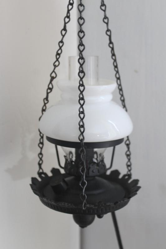 mini hanging light, vintage cast iron bracket candle bulb hurricane lamp w/ milk glass shade